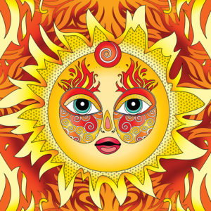 Abstract fire element design, with sun face and flames