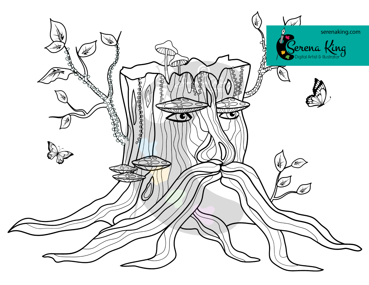 Wizard Tree Stump Coloring Page